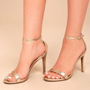 Lulu's Gold Ankle Strap Sandals Heels